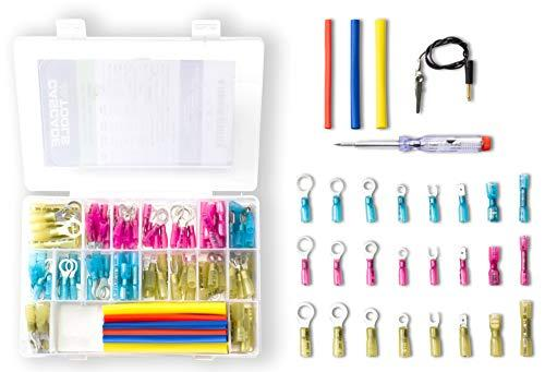 Connectors for Automotive /& Marine Mechanics 136 pcs Heat Shrink Insulated Waterproof Crimp Wire Connector Kit Set Incl.-120 Heat Shrink Electrical Connectors, Heat Shrink Tube, Test Light, and Case